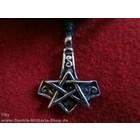Anderswelt Import Zinn-Anhänger Pentagramm mit Thors Hammer