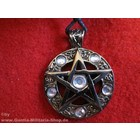 Anderswelt Import tin pendant pentagram with 5 stones