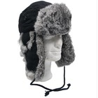 MFH fur hat, black with gray rabbit fur, quilted Feeding