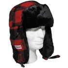 Fox Outdoor Fur Hat, lumberjack, red/black