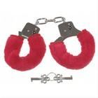 MFH Handcuffs, Plüsch skin coat in red