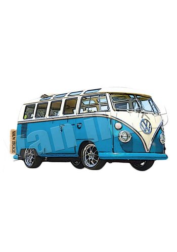 Vanikke Applicatie retro VW-bus rood of blauw voor overall