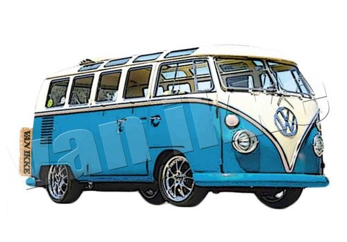 Vanikke Iron-on transfer retro VW bus red or blue overalls