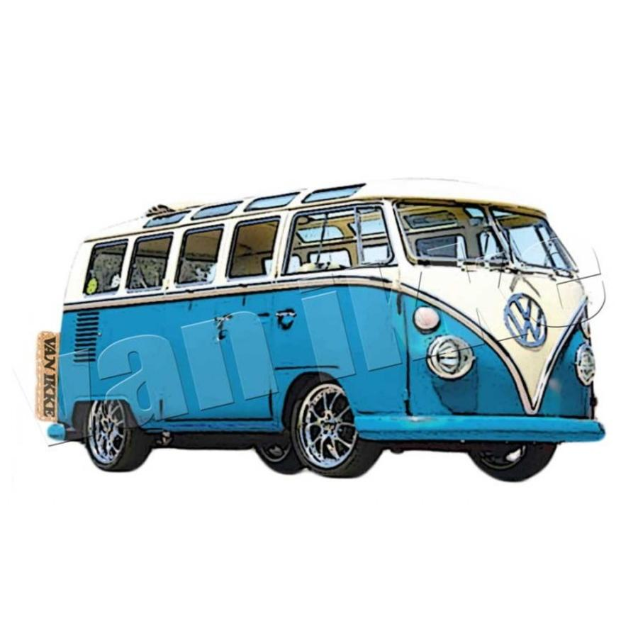 Iron-on transfer retro VW bus red or blue overalls