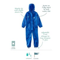 thumb-Waterproof coveralls, rain boiler suit - blue-1
