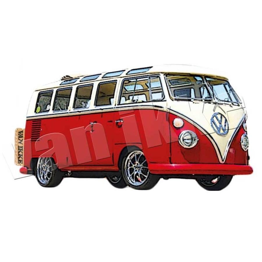 Applicatie retro VW-bus rood of blauw voor overall