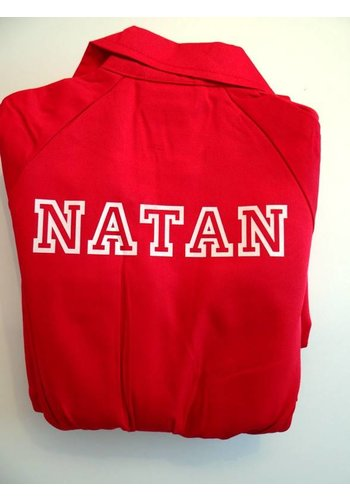 Printed red overalls with text or name