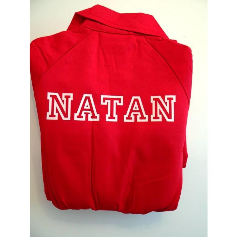 Rode overall met naam of tekst bedrukking-3