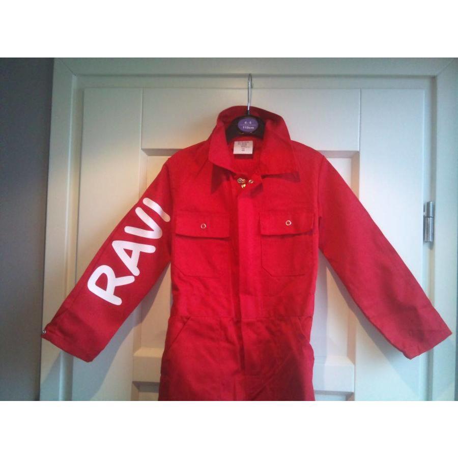 Rode overall met naam of tekst bedrukking-1