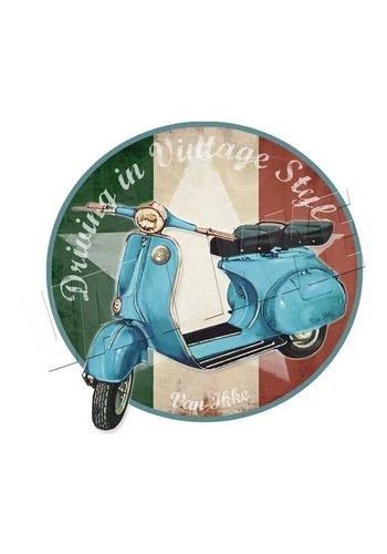 Vanikke Strijkapplicatie retro scooter