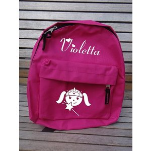 Backpack with name print and princess with wand