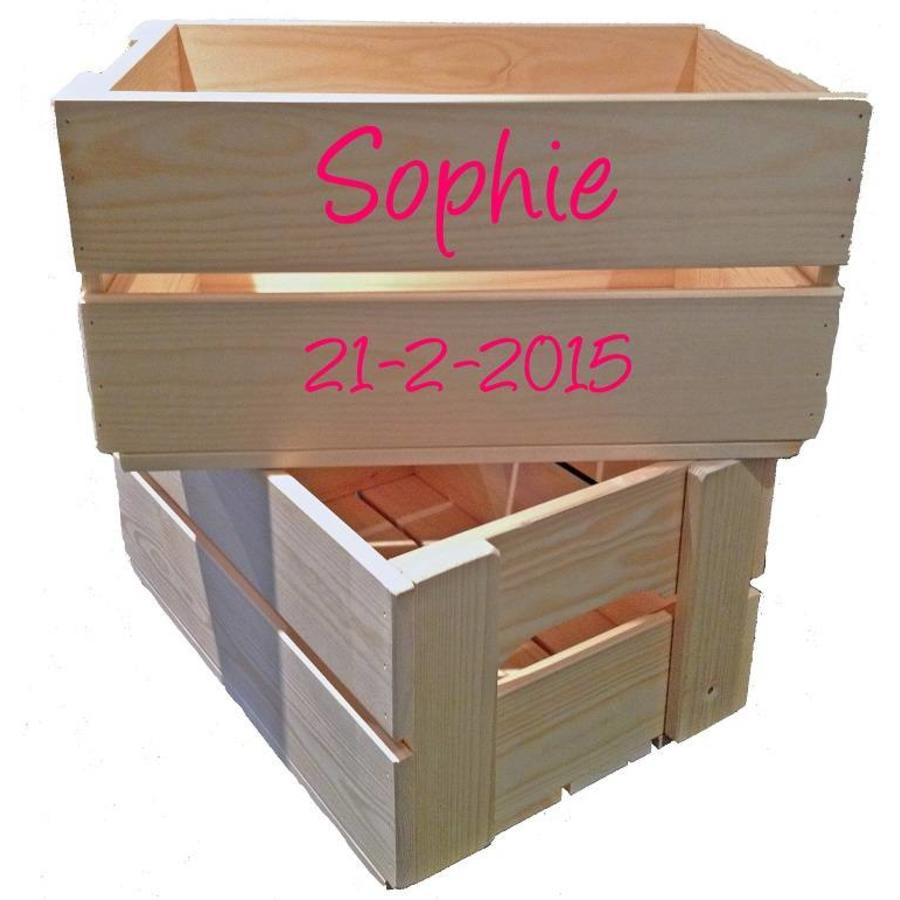 Toy crate, chest with name and extra line of text-1