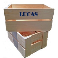 thumb-Maternity gift: crate with name, overall and clogs in blue-4