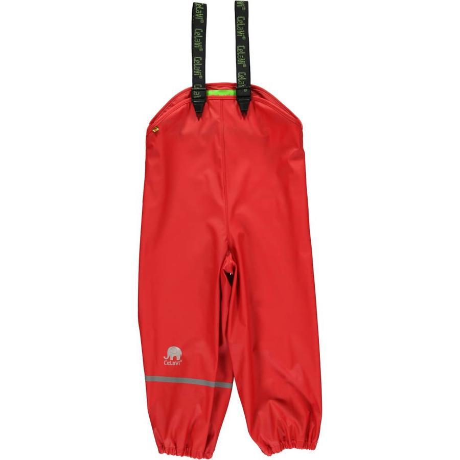 Rain pants, waterproof dungarees red-1