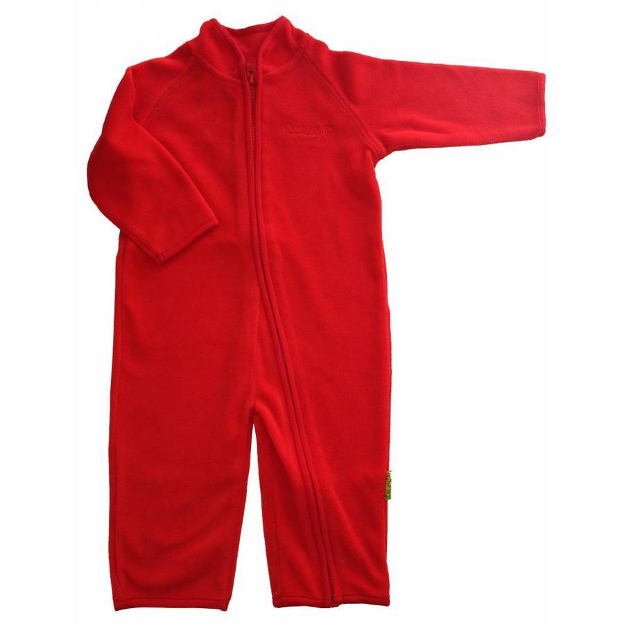 Fleece suit navy, red overalls