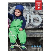 thumb-Lime green kids rain pants with suspenders | size 70-100-2