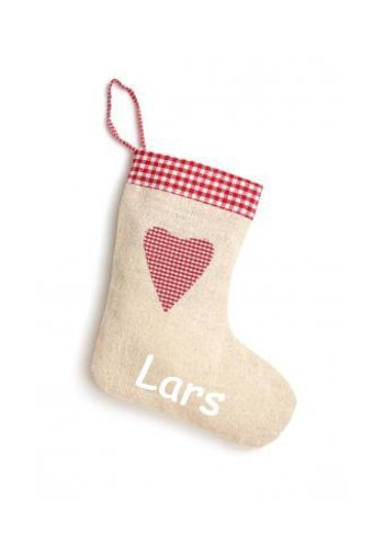 Linen, jute-look Christmas stocking with heart and name