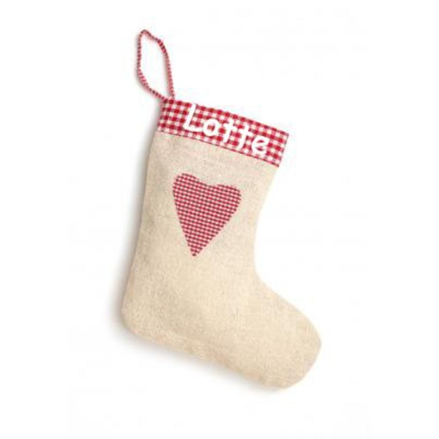 Printed Christmas stocking in linen, jute-look jute with heart