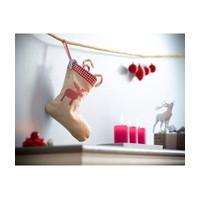Kerstsok met naam van linnen jute-look met eland applicatie