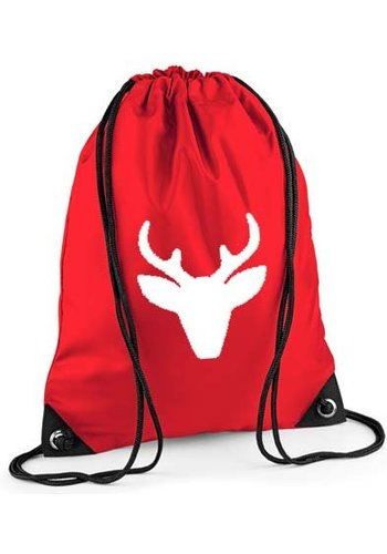 Red backpack, gym bag with reindeer