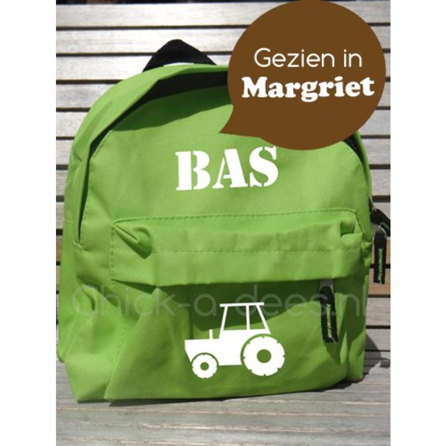 Backpack with name print and tractor, farm theme-2