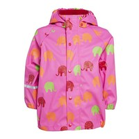 thumb-Waterproof rainsuit wit raincoat and rainpants in pink with elephants print-2