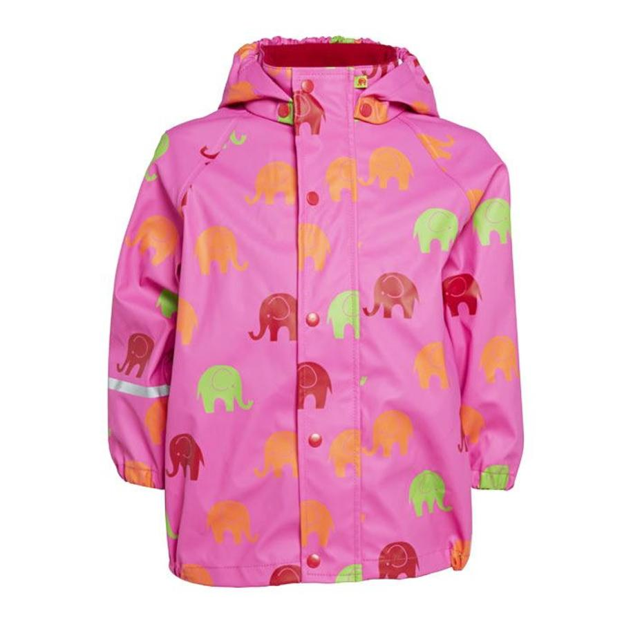 Waterproof rainsuit wit raincoat and rainpants in pink with elephants print-2