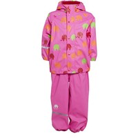 Waterproof rainsuit wit raincoat and rainpants in pink with elephants print