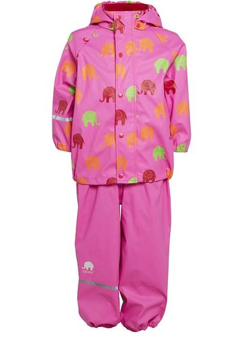 CeLaVi Waterproof rainsuit with hood in pink with elephants