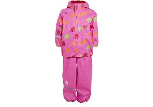 CeLaVi Waterproof rainsuit with hood in pink with elephants