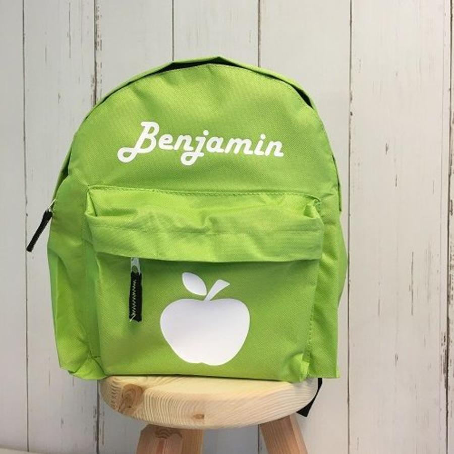 Backpack with name print and apple-1