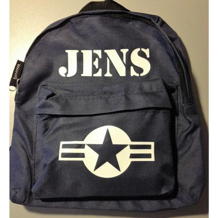 Backpack with name print and stars & stripes-2