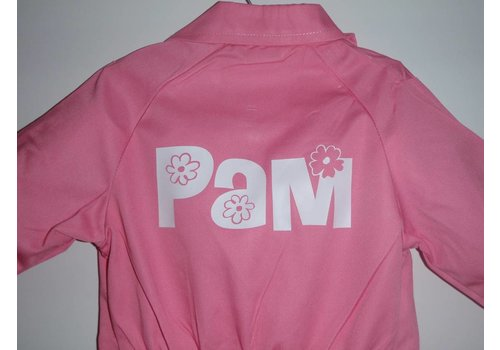 Printed pink overalls with text or name
