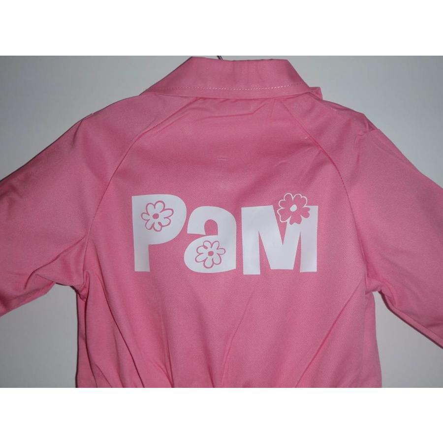 Licht roze overall met naam of tekst bedrukking-1