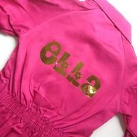 Fuchsia roze overall met naam of tekst bedrukking