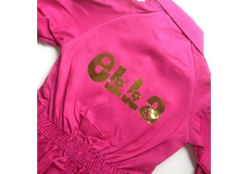 Bedrukte fuchsia roze overall met tekst of naam