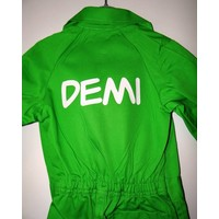 lime overall with name or text printing