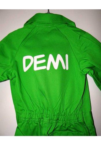 Bedrukte lime groene overall met tekst of naam