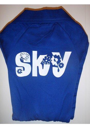 Bedrukte korenblauwe overall met tekst of naam