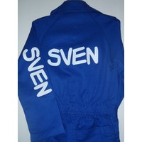 Blue overall with name or text printing