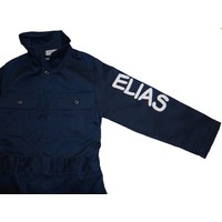 Navy blue overall with name or text printing