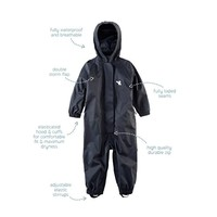 thumb-Waterproof coveralls, rain boiler suit - black-1