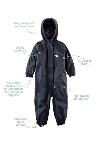 Waterproof overalls, waterproof boiler suit - black