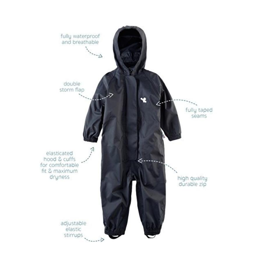 Waterproof coveralls, rain boiler suit - black-1