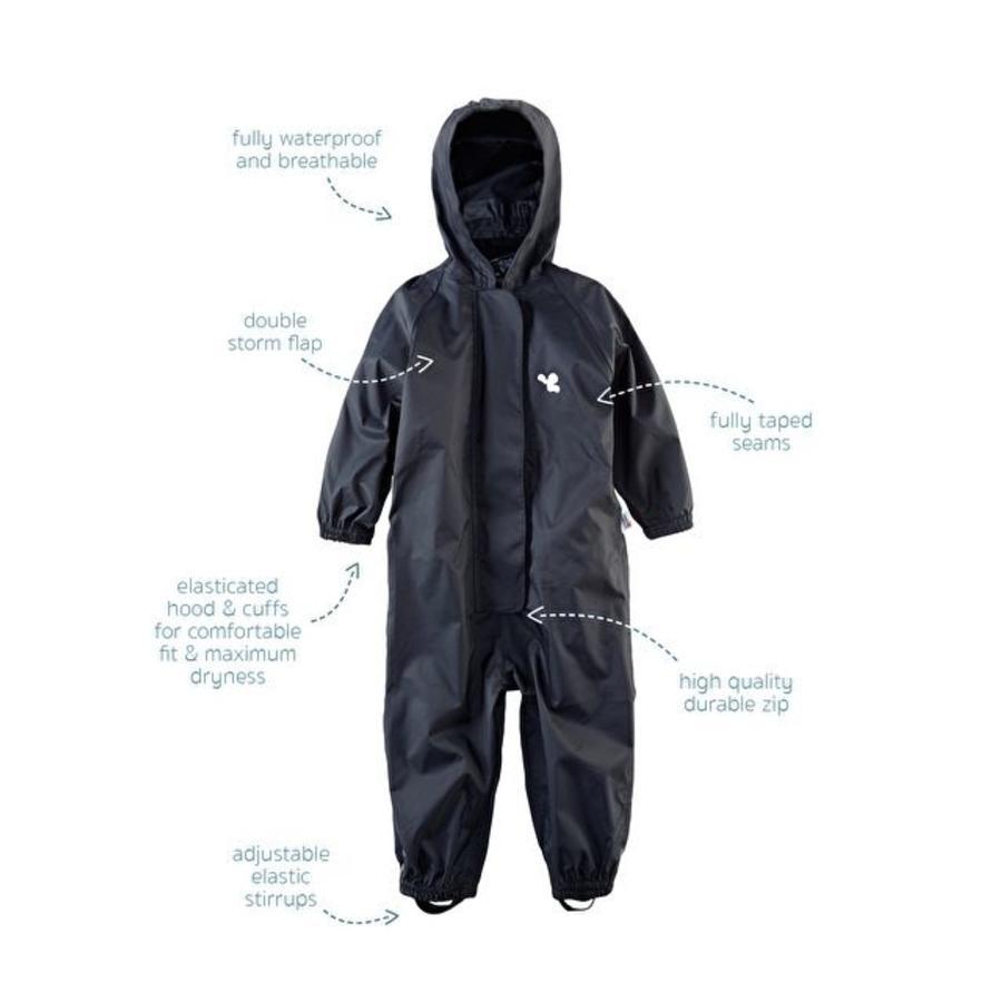 Waterproof coveralls, rain boiler suit - black