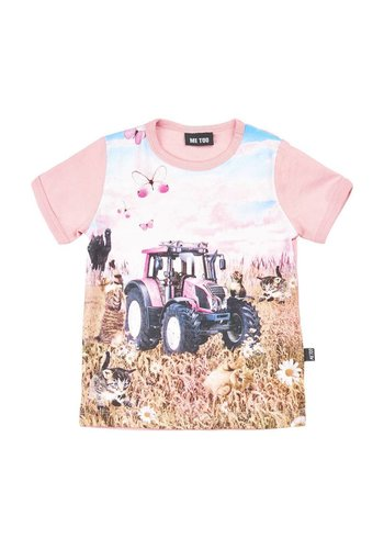 ME TOO T-shirt met tractor in roze