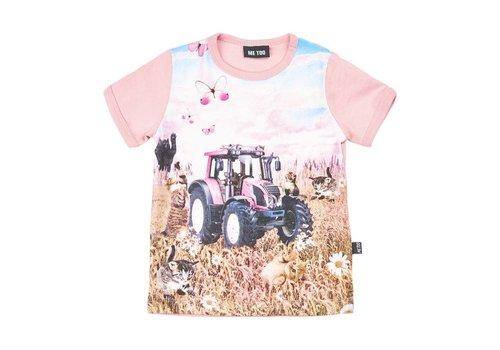 ME TOO T-shirt met tractor in roze