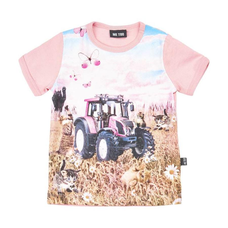 T-shirt with tractor in pink- short sleeves-1