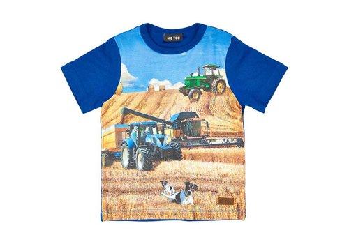 ME TOO T-shirt met tractor in blauw