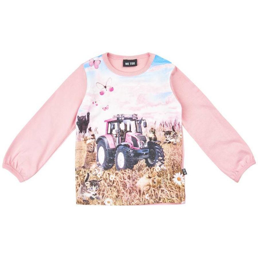 T-shirt met tractor in roze- lane mouwen